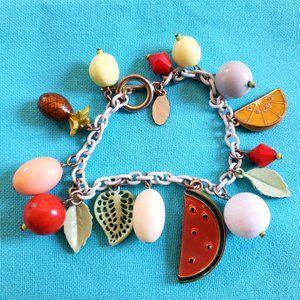 GUESS Fruit Enameled Chain Charm Bracelet